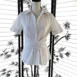 BCBG MaxAzria White Front Wrap Short Sleeve Blouse